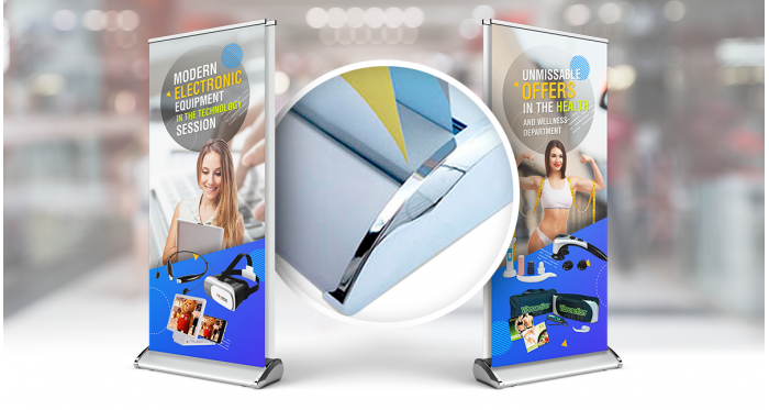 33x81 inches | Deluxe Double-Sided Retractable Stand